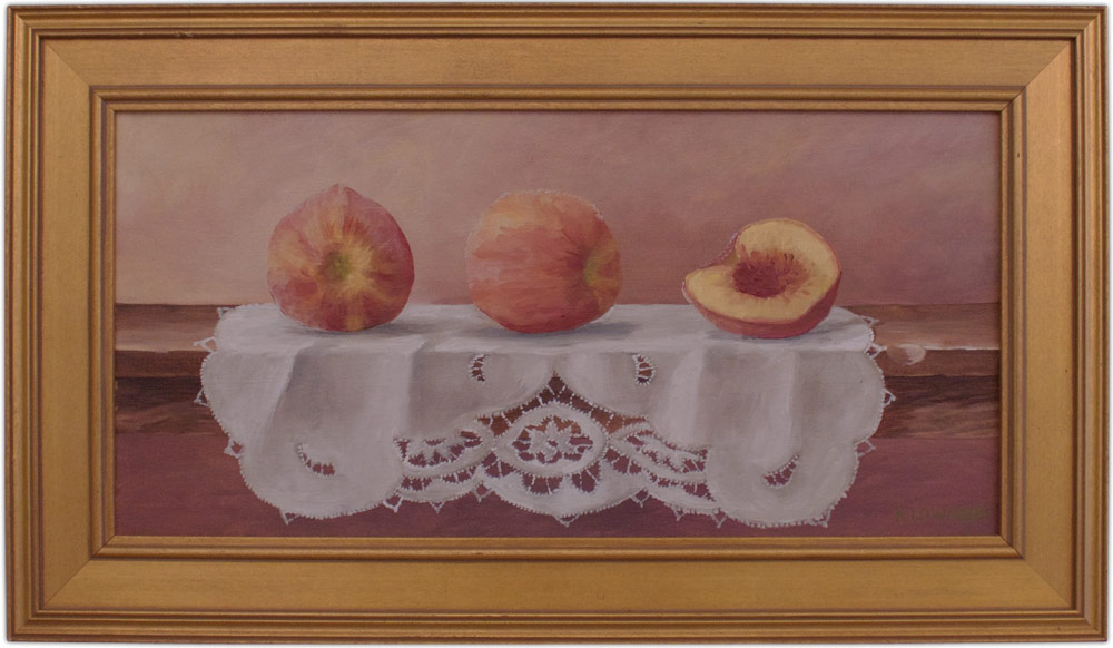 artist anna lowther oil painting peaches