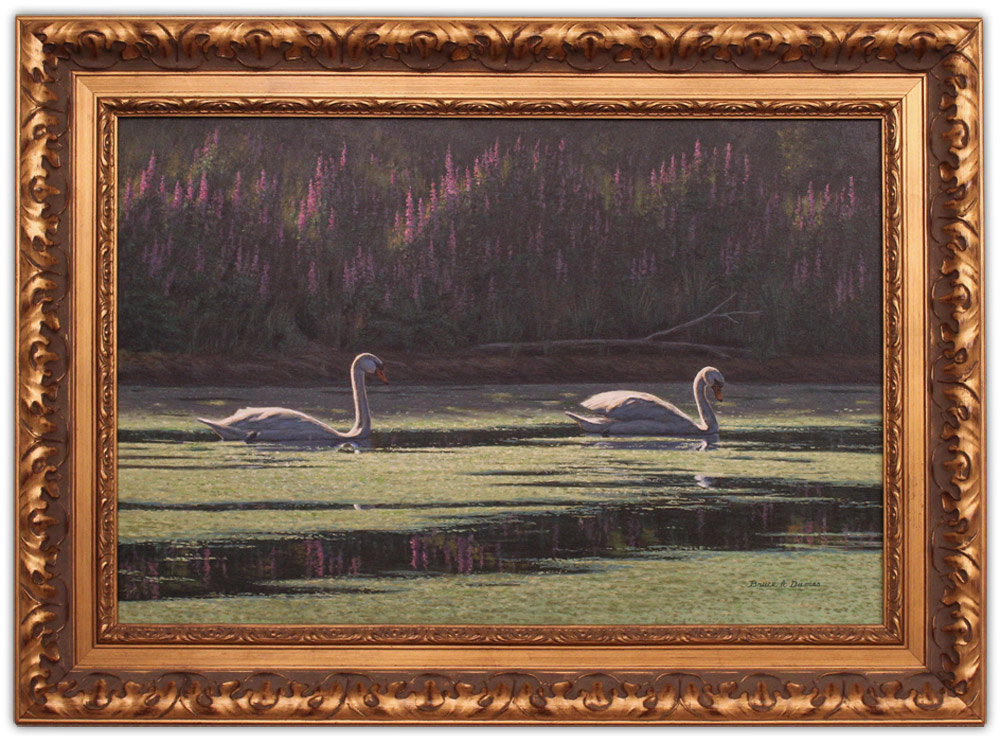 artist bruce dumas acrylic painting swans