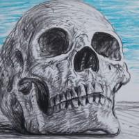 artist rick schaefer drawing skull